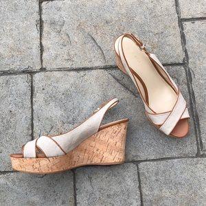 Nine West Canvas and Cork Slingback Sandal Heels